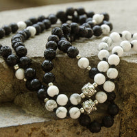 Lava Stone and Howlite Lavender Infused Mala Necklace