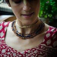 Lapis Lazuli & Sandalwood Four Tier Necklace