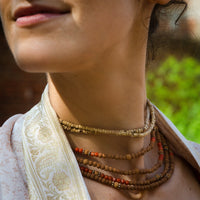 Rudraksha and Coral Four Tier Choker