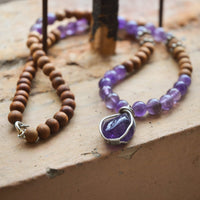 Amethyst and Sandalwood Necklace