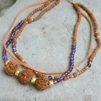 Rudraksha and Amethyst Trinity Necklace