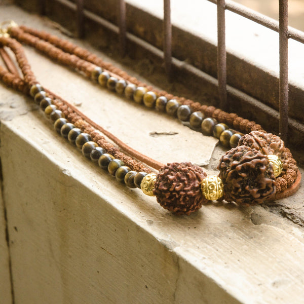 Rudraksha and Tiger Eye Trinity Necklace