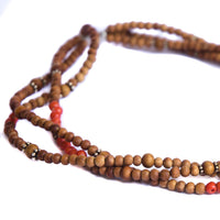 Sandalwood and Coral Three Tier Choker