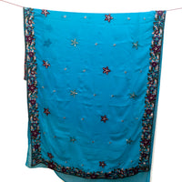 Turquoise blue chiffon recycled sari with elaborate machine embroidery and sequins.