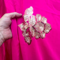 Pink chiffon recycled sari with sequins, machine stitched