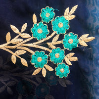 Blue, turquoise & beige chiffon recycled sari with machine embroidery