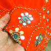 Orange chiffon recycled sari with elaborate beads, sequins & mirrors.