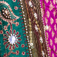Heavily ornamented purple & green recycled chiffon sari