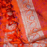 Banarasi Brocade Silk Shawl - Flame Red