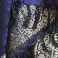 Banarasi Brocade Silk Shawl - Midnight Blue