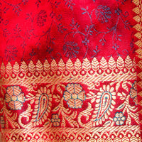 Banarasi Brocade Silk Shawl, Small - Deep Red