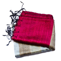 Bihari Raw Silk Scarf - Gold & Red