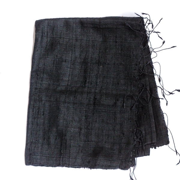 Bihari Raw Silk Scarf - Black