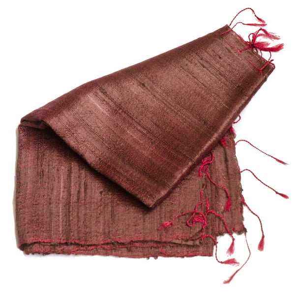 Bihari Raw Silk Scarf - Dark Red