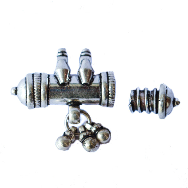 Silver Kavach with Screw Top and Bottom Bells