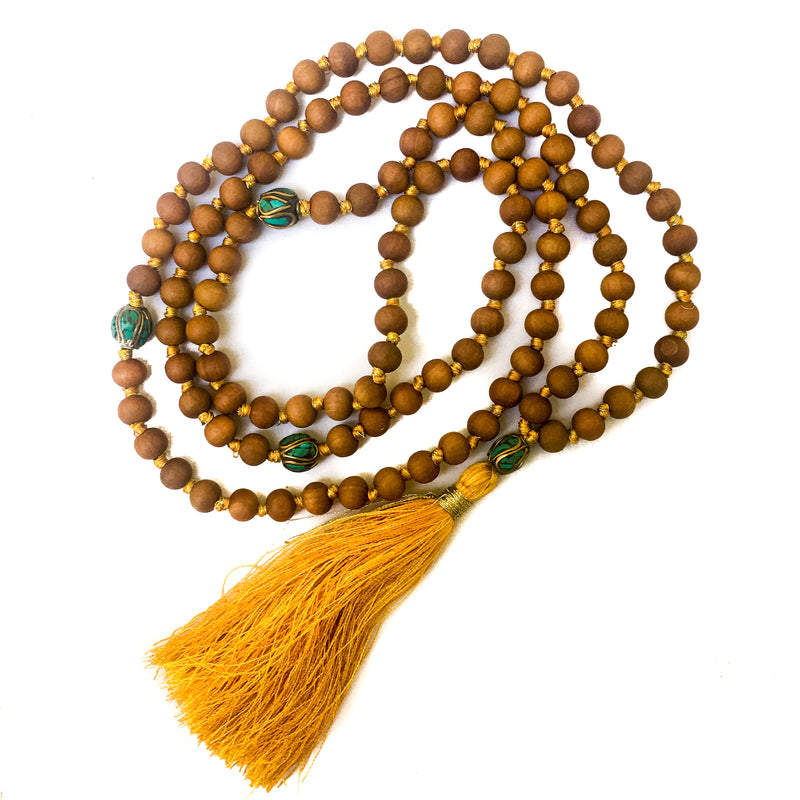 10de2d6bf Hand-knotted with silk & gold metal threads, 8mm Sandalwood beads.