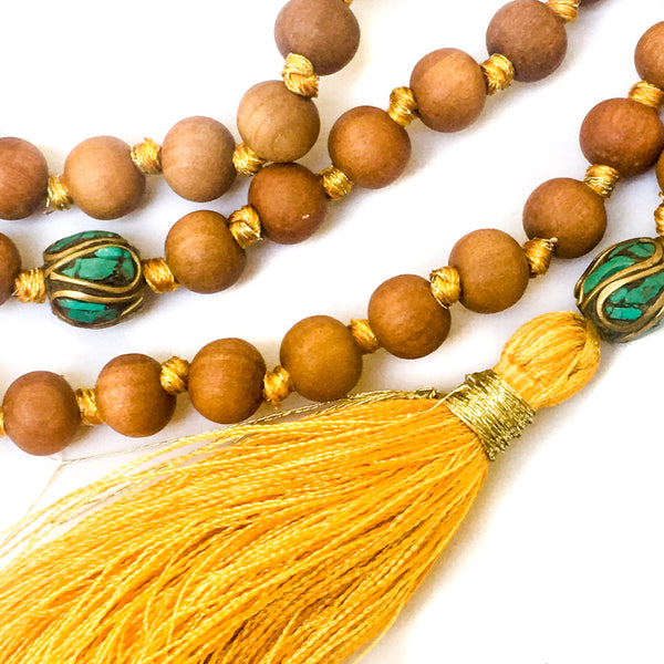 Hand-knotted with silk & gold metal threads, 8mm Sandalwood beads
