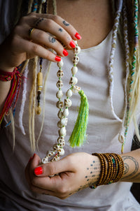 Skull Resin Bead Necklace Mala Hand-Knotted with Colored Silk IndiOdyssey