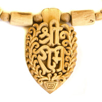 Large Intricately Carved Tulsi Sita Ram Sri Ram Pendant Necklace