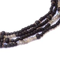 4-Tier Black Tulsi & Labradorite Necklace