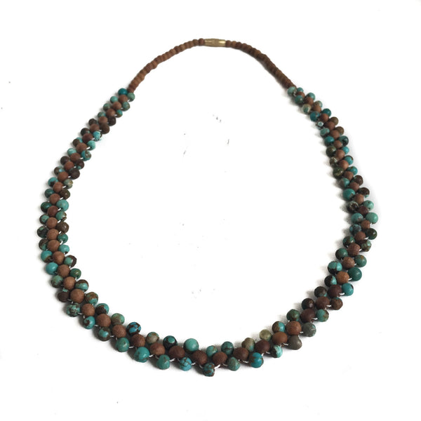 Turquoise and Sandalwood Necklace