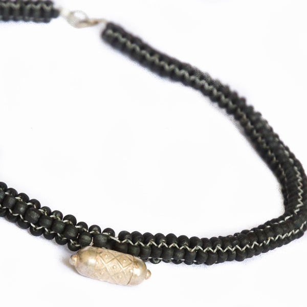 Woven Tulsi Choker Necklace with Silver Kavach