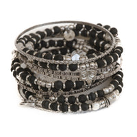 Black Tulsi and Sterling Silver Stacking Bangles