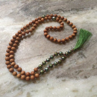 Sandalwood and Green Glass Faceted Beads
