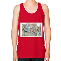 ISKCON Temple Unisex Fine Jersey Tank (on man) Red Indiodyssey