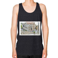 ISKCON Temple Unisex Fine Jersey Tank (on man) Tri-Blend Black Indiodyssey