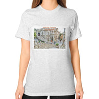 ISKCON Temple Unisex T-Shirt (on woman) Ash grey Indiodyssey