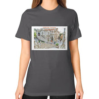 ISKCON Temple Unisex T-Shirt (on woman) Asphalt Indiodyssey