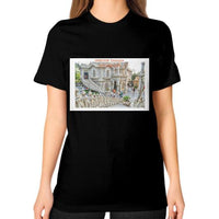 ISKCON Temple Unisex T-Shirt (on woman) Black Indiodyssey