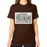 ISKCON Temple Unisex T-Shirt (on woman) Brown Indiodyssey