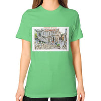 ISKCON Temple Unisex T-Shirt (on woman) Grass Indiodyssey