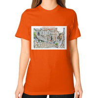 ISKCON Temple Unisex T-Shirt (on woman) Orange Indiodyssey
