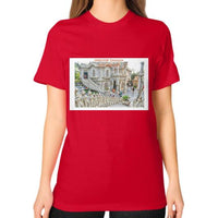 ISKCON Temple Unisex T-Shirt (on woman) Red Indiodyssey