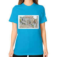 ISKCON Temple Unisex T-Shirt (on woman) Teal Indiodyssey