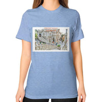 ISKCON Temple Unisex T-Shirt (on woman) Tri-Blend Blue Indiodyssey