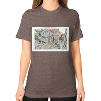 ISKCON Temple Unisex T-Shirt (on woman) Tri-Blend Coffee Indiodyssey