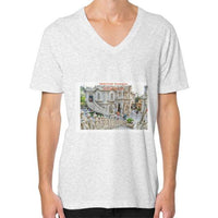 ISKCON Temple V-Neck (on man) Ash grey Indiodyssey