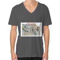 ISKCON Temple V-Neck (on man) Asphalt Indiodyssey