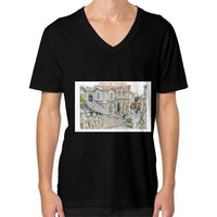 ISKCON Temple V-Neck (on man) Black Indiodyssey