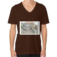 ISKCON Temple V-Neck (on man) Brown Indiodyssey