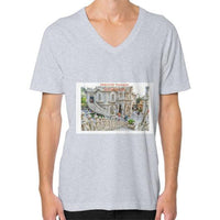 ISKCON Temple V-Neck (on man) Heather grey Indiodyssey