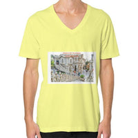ISKCON Temple V-Neck (on man) Lemon Indiodyssey