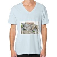ISKCON Temple V-Neck (on man) Light blue Indiodyssey