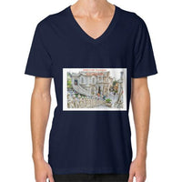 ISKCON Temple V-Neck (on man) Navy Indiodyssey