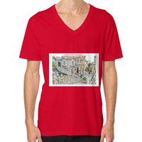 ISKCON Temple V-Neck (on man) Red Indiodyssey