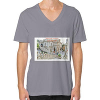 ISKCON Temple V-Neck (on man) Slate Indiodyssey
